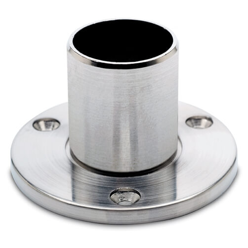 Wall/Floor Flange - Long Neck - Stainless Steel Effect Finish