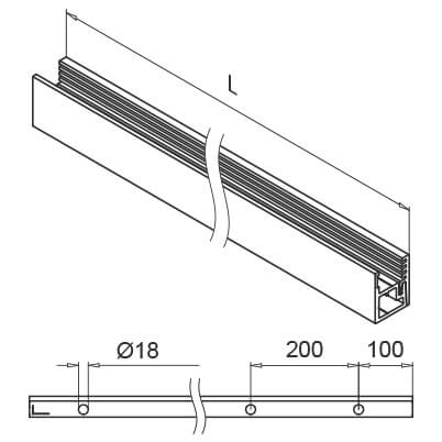 Glass Channel Profile - Mounting Holes - Easy Glass Wall
