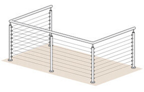 Wire Balustrade - 2 + 4 + 2 Metre