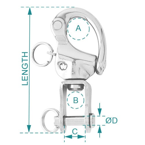 Wichard Snap Shackle - 70mm Clevis Pin Diagram