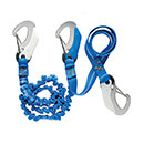 Wichard Safety Lanyard - 3 x Double Action Safety Hooks - Elastic/Flat Webbing - 316 Grade Stainless Steel - Polyamide Webbing