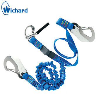 Wichard Safety Lanyard - Quick Snap Shackle - Double Action Safety Hooks - Elastic/Flat Webbing