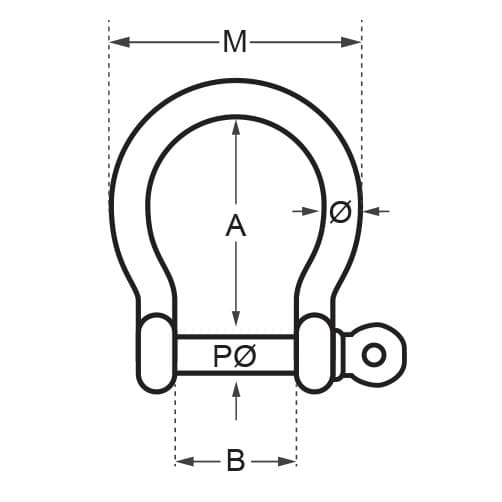 Wichard Captive Pin - Bow Shackle Diagram