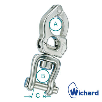 Wichard Stainless Steel Trigger Snap Shackle with Swivel Shackle - Diagram