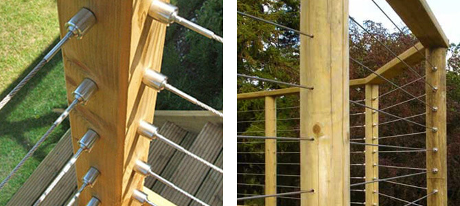 Decking balustrade features of the S3i stainless steel wire cable ...