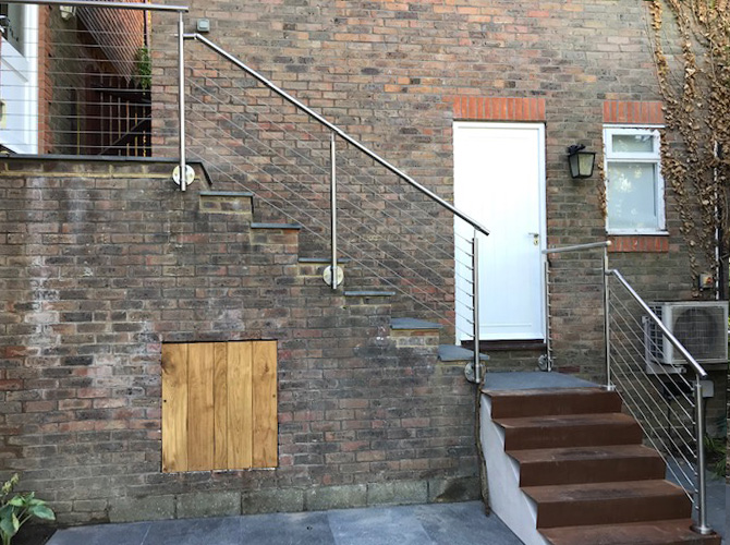 Stairs with stainless steel wire balustrade
