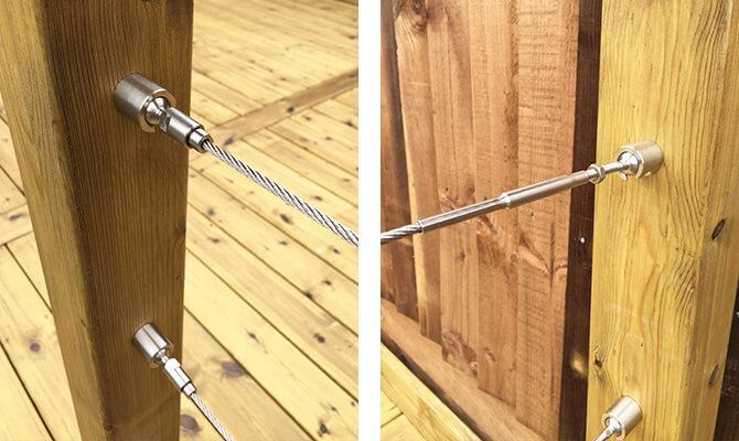 Stainless Steel Wire Balustrade Timber Mounted