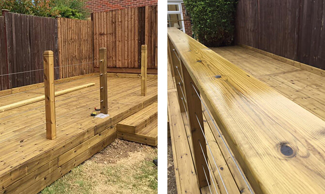 Decking Construction with Stainless Steel Wire Balustrade