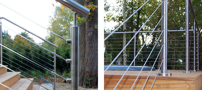 Cable Railing showing the articulation of stainless steel wire and the ball & socket system