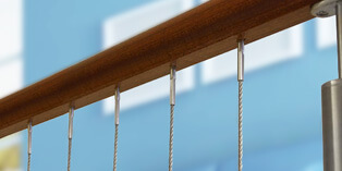 Vertical Wire Balustrade - Timber Mount