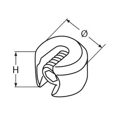 Wire Rope Stopper - 316 Grade Stainless Steel - Diagram