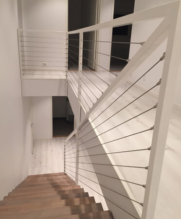 Staircase with Stainless Steel Wire Balustrade Infill