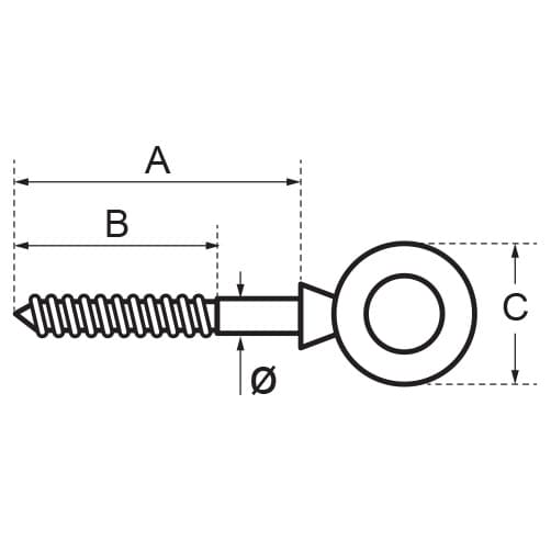 Wood Screw Thread Eye Bolt Diagram