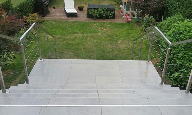 Stainless Steel Square Line Post and Handrail with Wire Balustrade Infill