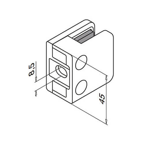 Zinc Glass Clamp - Square - Flat Mount - Base Dimensions