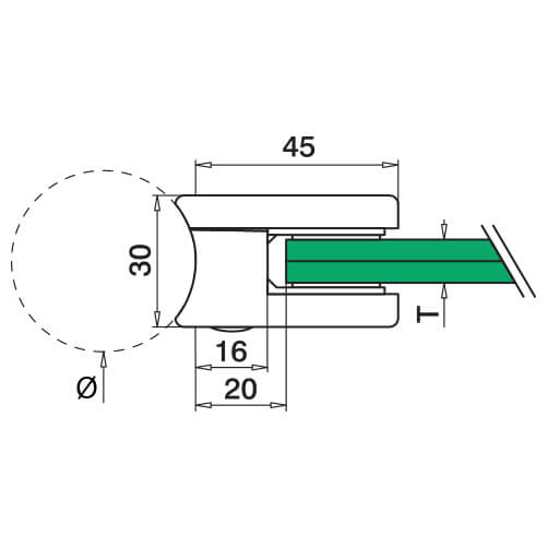 Zinc Glass Clamp - Square - Tube Mount - Dimensions