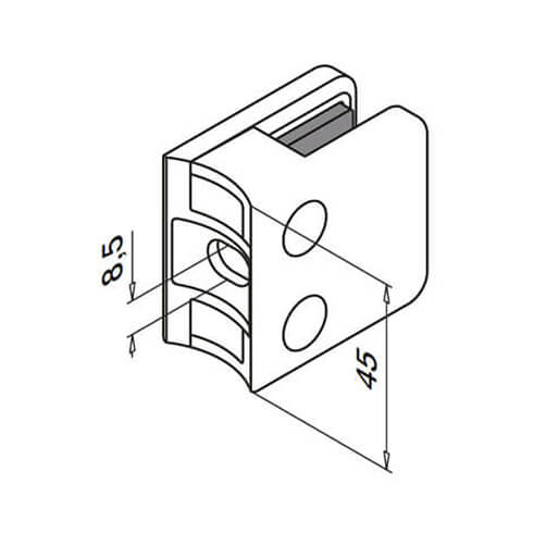 Zinc Glass Clamp - Square - Tube Mount - Base Dimensions